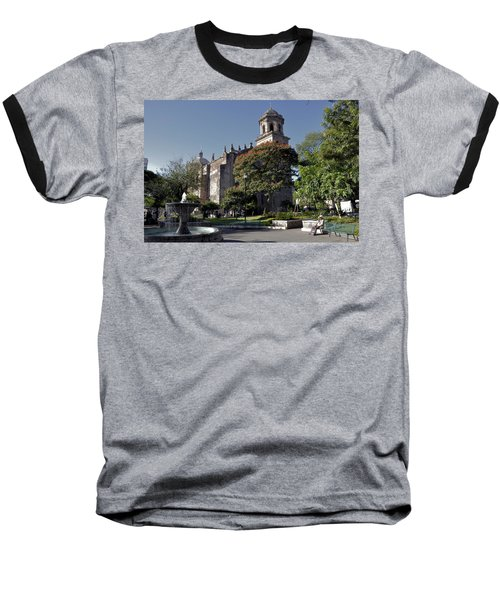Church And Fountain Guadalajara Baseball T-Shirt by Jim Walls PhotoArtist