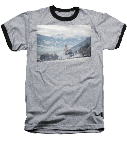 Church In Alpine Zillertal Valley In Winter Baseball T-Shirt