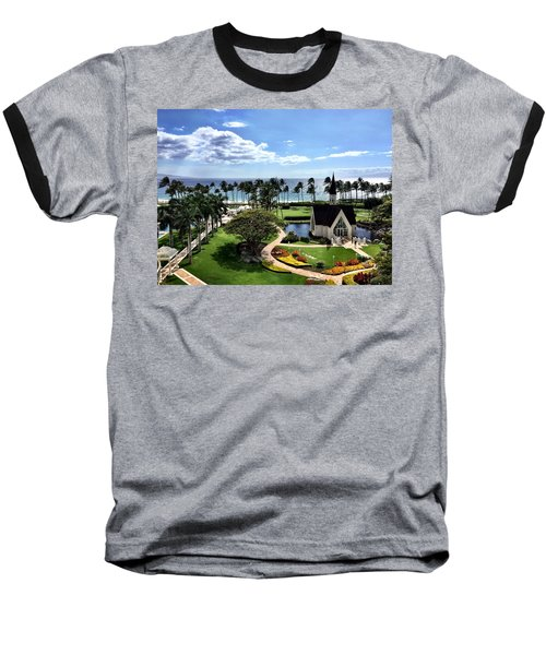 Church In Paradise Baseball T-Shirt by Michael Albright