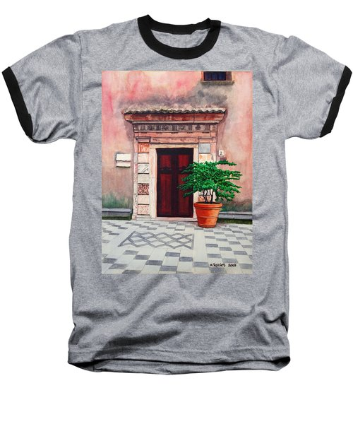 Church Side Door - Taormina Sicily Baseball T-Shirt by Mike Robles