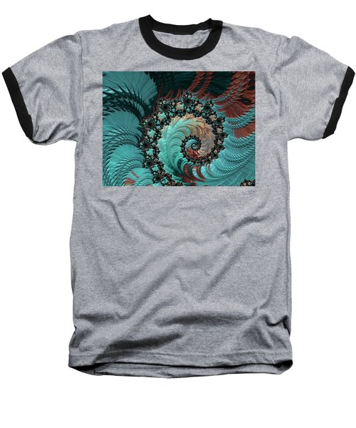 Baseball T-Shirt featuring the digital art Churning Sea Fractal by Bonnie Bruno