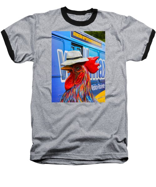 Cigar Smoking Rooster Art Baseball T-Shirt