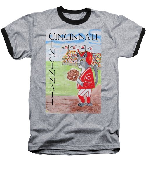 Cinci Reds Cat Baseball T-Shirt by Diane Pape