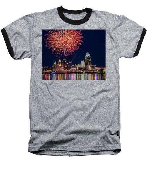 Cincinnati Fireworks Baseball T-Shirt by Scott Meyer