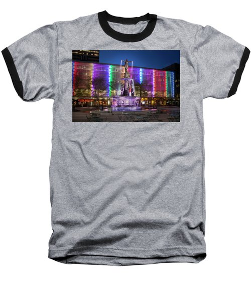 Cincinnati Fountain Square Baseball T-Shirt by Scott Meyer