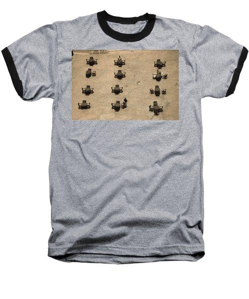 Cincinnati - Fountain Square Sepia Baseball T-Shirt by Frank Romeo