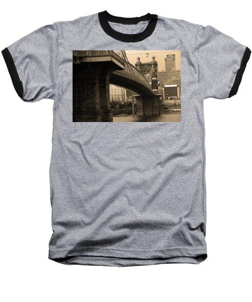 Cincinnati - Roebling Bridge 2 Sepia Baseball T-Shirt by Frank Romeo