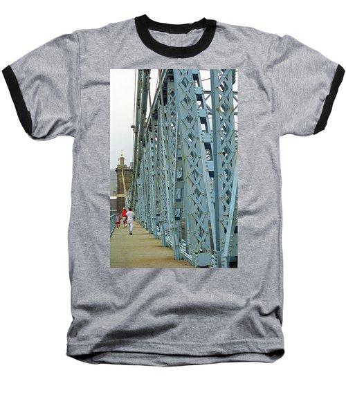 Cincinnati - Roebling Bridge 3 Baseball T-Shirt by Frank Romeo