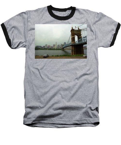 Cincinnati - Roebling Bridge 6 Baseball T-Shirt by Frank Romeo