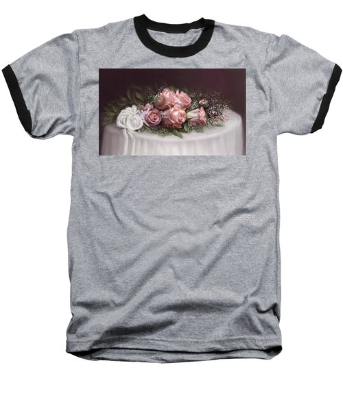 Baseball T-Shirt featuring the painting Spray Of  Roses by Bonnie Willis