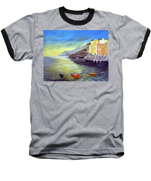 Baseball T-Shirt featuring the painting Cinque Terre Dreams by Larry Cirigliano