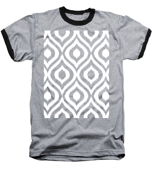 Circle And Oval Ikat In White N03-p0100 Baseball T-Shirt