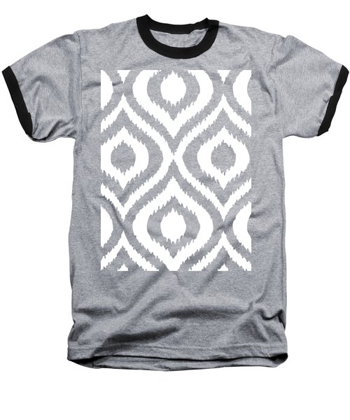 Circle And Oval Ikat In White T02-p0100 Baseball T-Shirt
