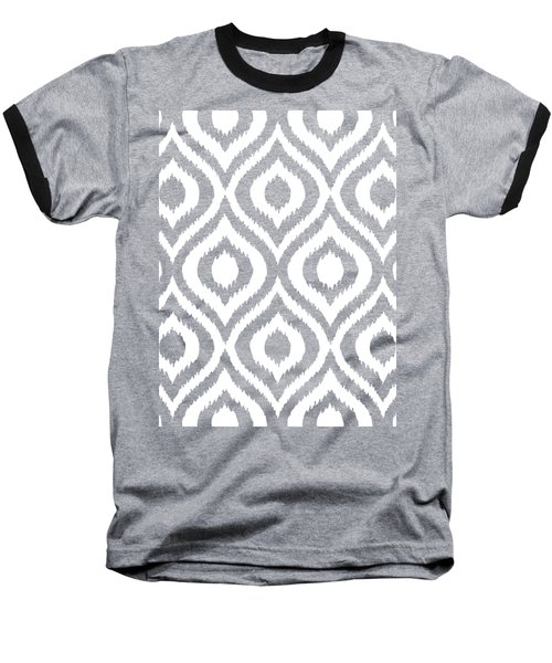Circle And Oval Ikat In White T03-p0100 Baseball T-Shirt