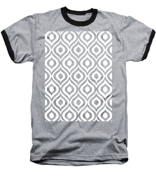 Circle And Oval Ikat In White T05-p0100 Baseball T-Shirt