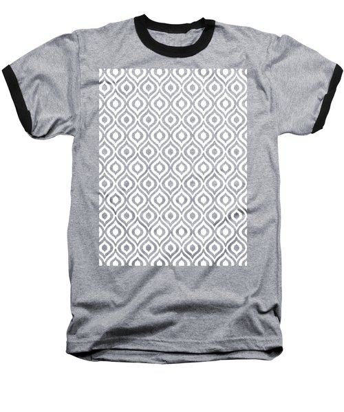 Circle And Oval Ikat In White T09-p0100 Baseball T-Shirt