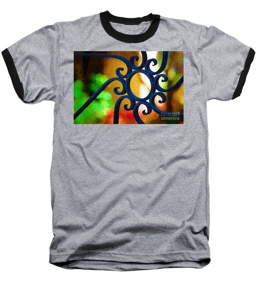 Baseball T-Shirt featuring the photograph Circle Design On Iron Gate by Donna Bentley