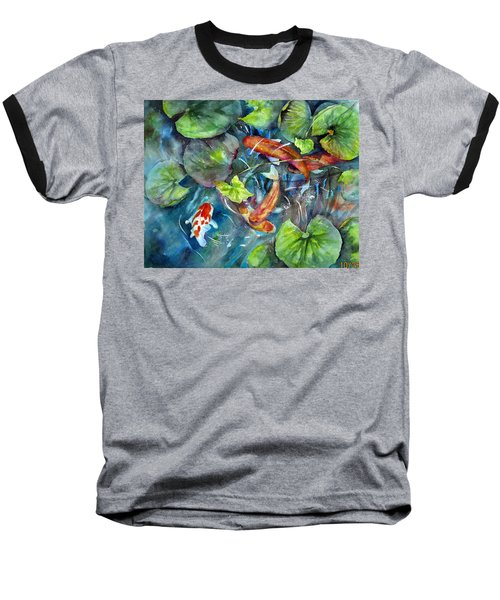Baseball T-Shirt featuring the painting Circle Of Koi by Mary McCullah