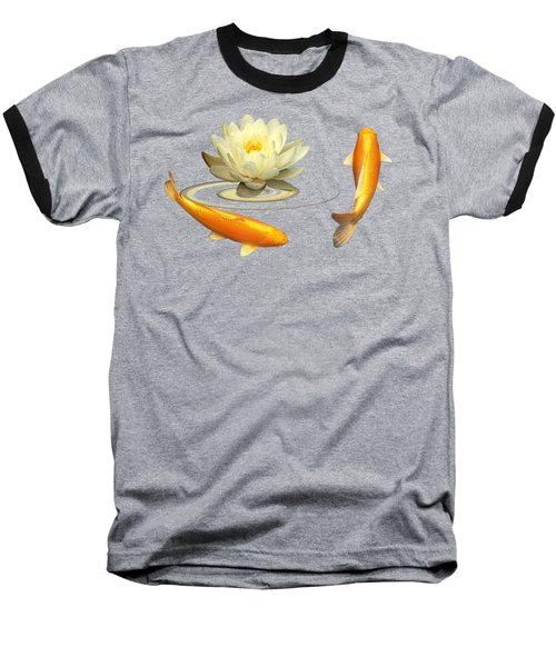Circle Of Life - Koi Carp With Water Lily Baseball T-Shirt by Gill Billington