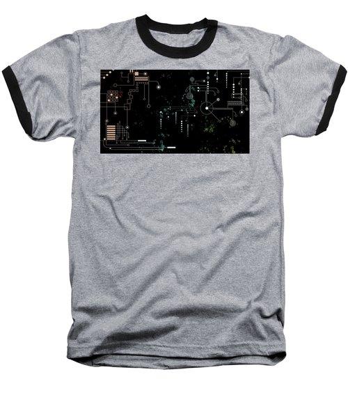 Circuit Board Baseball T-Shirt by Carol Crisafi