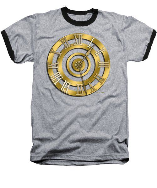 Circular Clock Design Baseball T-Shirt by Chuck Staley