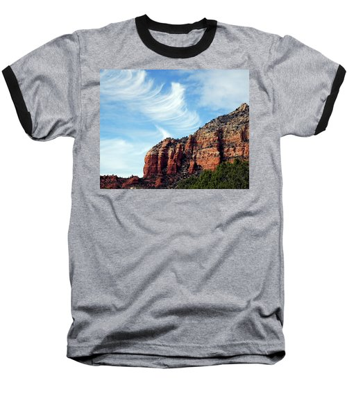 Baseball T-Shirt featuring the photograph Cirrus Clouds Over The Mesa by Lynda Lehmann
