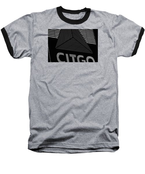 Citgo Sign Closeup Boston Ma Black And White Baseball T-Shirt