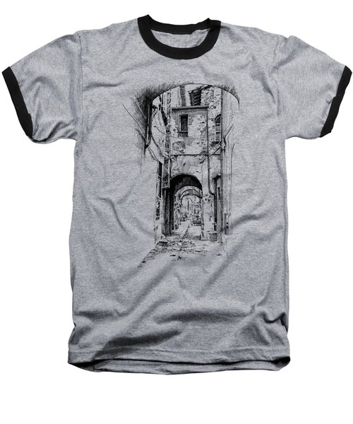 Citta Di Castello Dip Pen Sketch Baseball T-Shirt