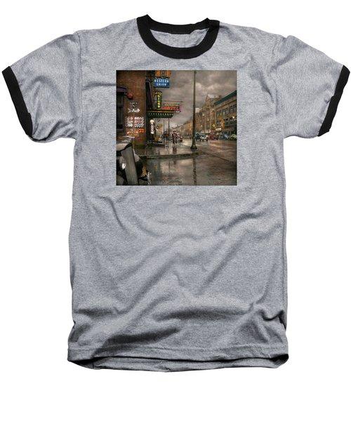 City - Amsterdam Ny -  Call 666 For Taxi 1941 Baseball T-Shirt by Mike Savad