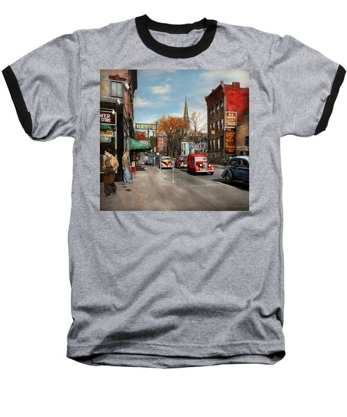 Baseball T-Shirt featuring the photograph City - Amsterdam Ny - Downtown Amsterdam 1941 by Mike Savad