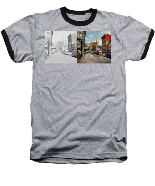 Baseball T-Shirt featuring the photograph City - Amsterdam Ny - Downtown Amsterdam 1941- Side By Side by Mike Savad