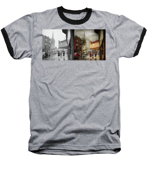 Baseball T-Shirt featuring the photograph City - Amsterdam Ny - Life Begins 1941 - Side By Side by Mike Savad