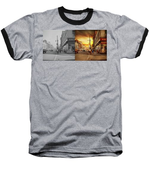 Baseball T-Shirt featuring the photograph City - Amsterdam Ny - The Lost City 1941 - Side By Side by Mike Savad