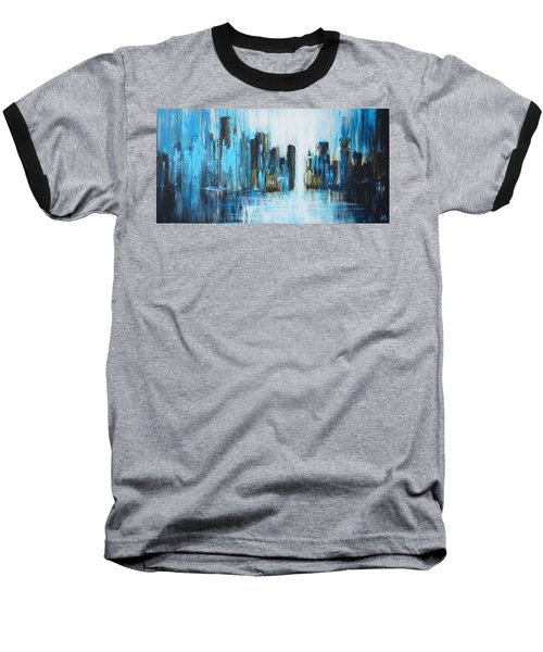City Blues Baseball T-Shirt by Theresa Marie Johnson