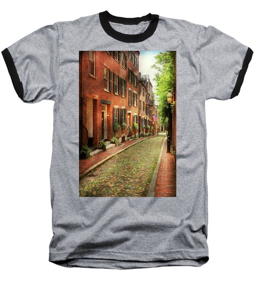 Baseball T-Shirt featuring the photograph City - Boston Ma - Acorn Street by Mike Savad