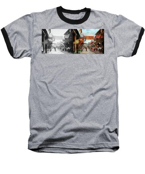 Baseball T-Shirt featuring the photograph City - Coney Island Ny - Bowery Beer 1903 - Side By Side by Mike Savad