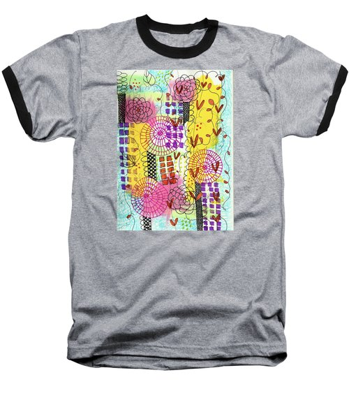 Baseball T-Shirt featuring the mixed media City Flower Garden by Lisa Noneman