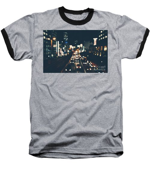 Baseball T-Shirt featuring the photograph City Lights by MGL Meiklejohn Graphics Licensing