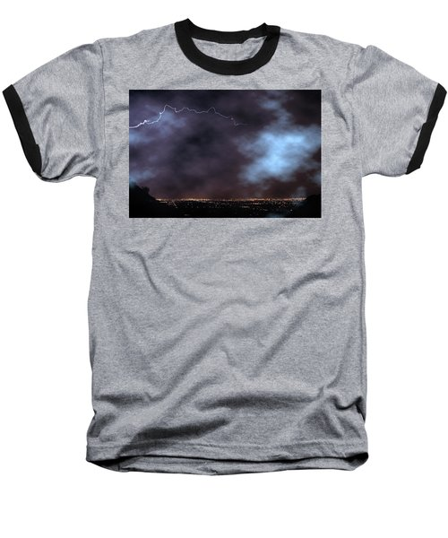 Baseball T-Shirt featuring the photograph City Lights Night Strike by James BO Insogna