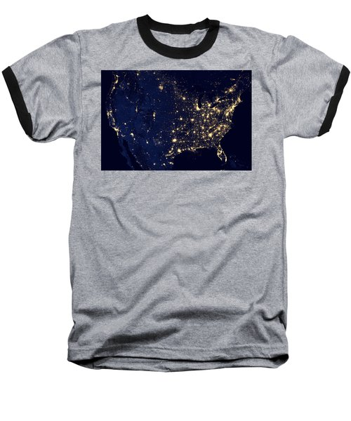 City Lights Of The United States Baseball T-Shirt