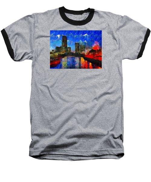 City Living - Tokyo - Skyline Baseball T-Shirt by Sir Josef - Social Critic -  Maha Art