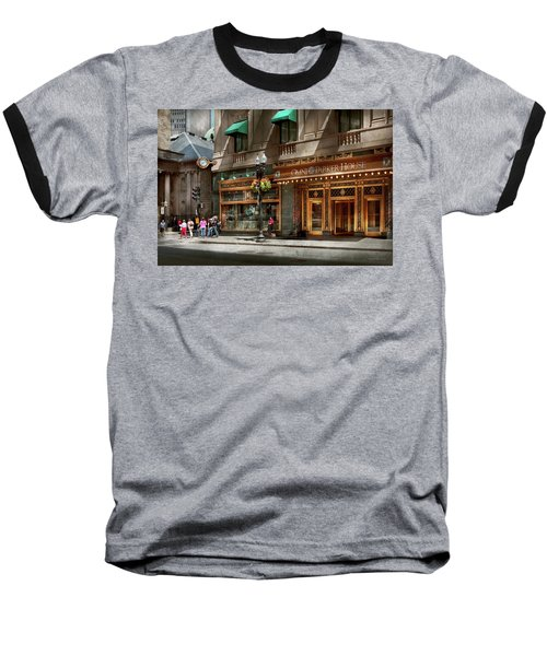 Baseball T-Shirt featuring the photograph City - Ma Boston - Meet Me At The Omni Parker Clock by Mike Savad