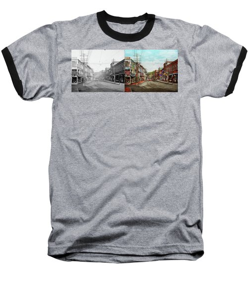 Baseball T-Shirt featuring the photograph City - Ma Glouster - A Little Bit Of Everything 1910 - Side By Side by Mike Savad