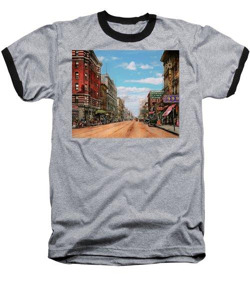 Baseball T-Shirt featuring the photograph City - Memphis Tn - Main Street Mall 1909 by Mike Savad