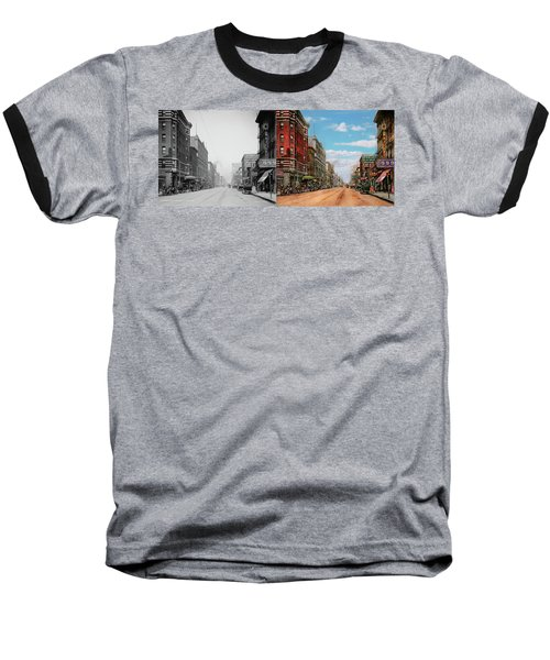 Baseball T-Shirt featuring the photograph City - Memphis Tn - Main Street Mall 1909 - Side By Side by Mike Savad