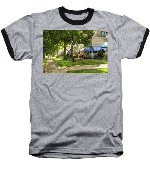 Baseball T-Shirt featuring the photograph City - Naval Academy - A Walk Down Captains Row by Mike Savad