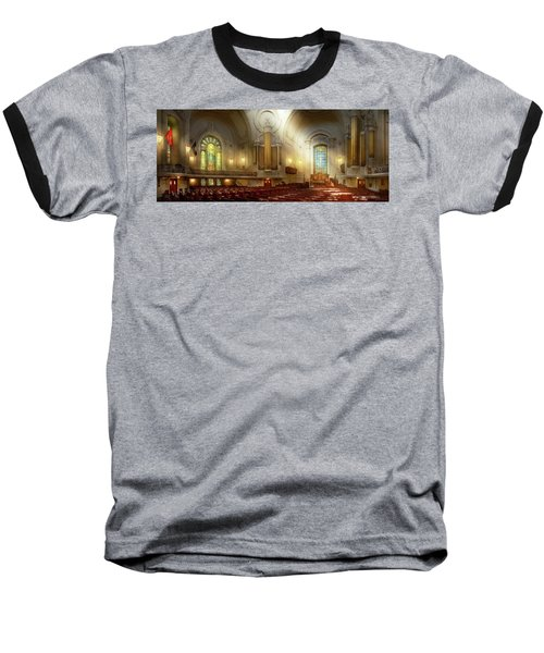 Baseball T-Shirt featuring the photograph City - Naval Academy - The Chapel by Mike Savad