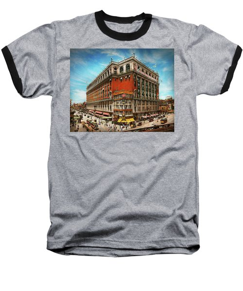 Baseball T-Shirt featuring the photograph City - Ny New York - The Nation's Largest Dept Store 1908 by Mike Savad