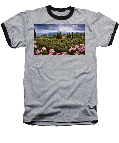 Tuscan Landscape With Roses And Mountains In Florence, Italy Baseball T-Shirt