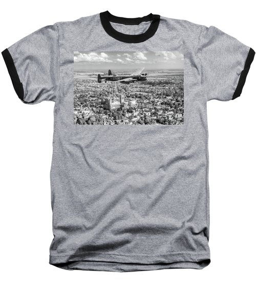 Baseball T-Shirt featuring the photograph City Of Lincoln Vn-t Over The City Of Lincoln Bw Version by Gary Eason